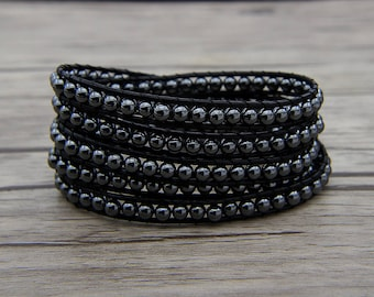 Hematite bead bracelet black wrap bracelet metalic bead bracelet boho wrap bracelet yoga bracelet leather wrap bracelet men Jewelry SL-0563