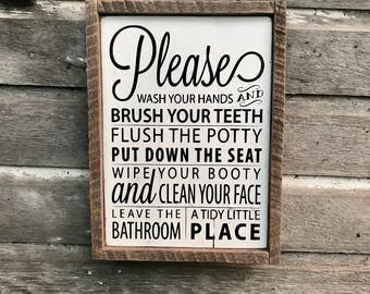 Wash Your Hands | Brush Your Teeth | Flush the Potty | Bathroom Wood Sign | Pallet Sign | Rustic | Farmhouse | Kids Bathroom | Country Decor