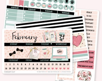FEBRUARY Monthly View Planner Sticker Set | Fits ECLP or Classic Happy Planner