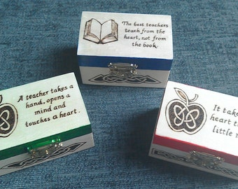 Teacher Gifts; Gifts for teachers; Wooden trinket boxes; Mini treasure chest with teacher quote; Inspirational quote boxes; Celtic Apple;
