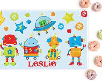 Robots personalized placemat, Placemats for kids, Kids placemats, Personalized with name, Laminated, Double sided placemat, PM16