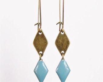 Brass diamond shape and chambray blue enameled diamond earrings