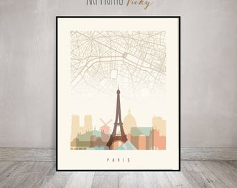 Paris City Map Print Skyline Poster | ArtPrintsVicky.com