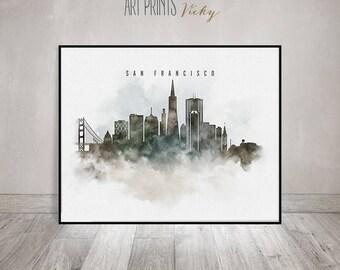 San Francisco print, San Francisco art poster, San Francisco skyline watercolor, travel gifts, office decor, home decor, ArtPrintsVicky.