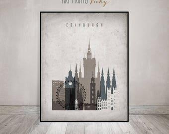 Edinburgh art print, poster, Wall art, Edinburgh skyline, housewarming gift, travel decor, Vintage style, Home Decor, ArtPrintsVicky