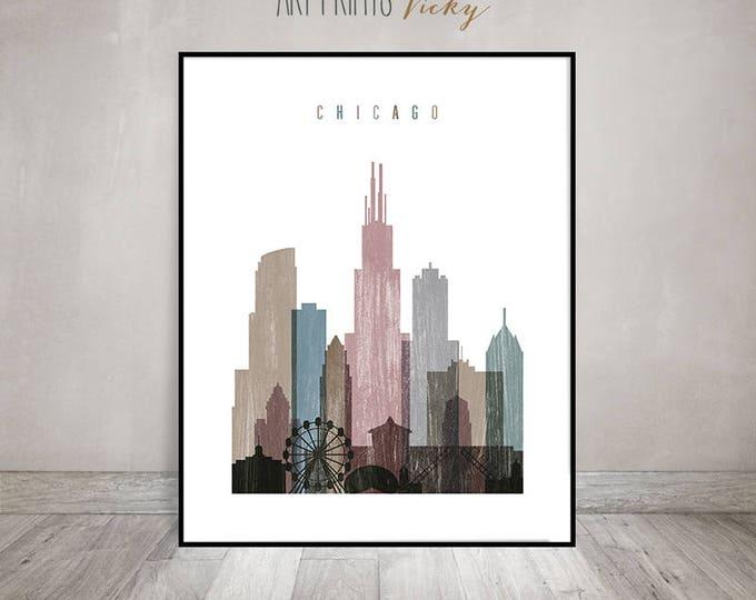 Chicago print, distressed poster, Wall art, Illinois, Chicago skyline, City poster, Typography art, Home Decor, travel decor ArtPrintsVicky.