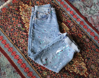 Custom Vintage Paint Splattered Denim Jeans