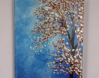 Tree Landscape Painting Palette Knife Tree Art  Canvas Decor Modern Hand Painted Abstract Landscape Trees Original Textured