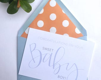 Baby Boy Card, New Baby Boy, Baby Boy, New Baby Card, Congratulations Card, Newborn, It's a Boy