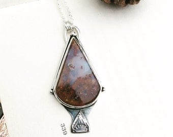 Red Mountain Morning Necklace - Moss Agate Pendant