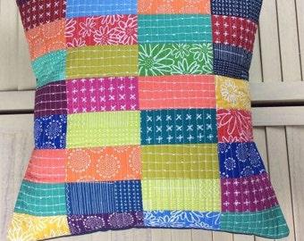 Blueberry Park Bright Spectrum Cushion (B), Cushion, Patchwork Cushion, Quilted Cushion, Modern Cushion, Patchwork Pillow, Quilted Pillow