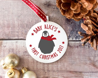 Baby's First Christmas Penguin Bauble - Personalised Baby's Christmas Decoration - First Christmas Decoration