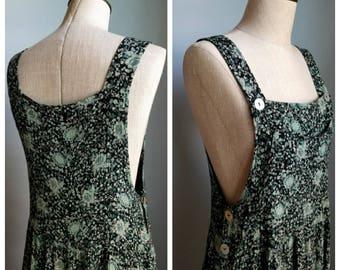 vintage floral crinkle overalls rayon dress