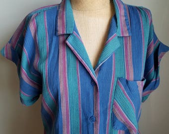 vintage stripes cotton polyester shirt top
