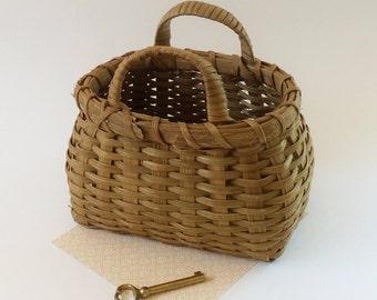 Vintage Handwoven Harvest Basket - Collectible 7 Inch Wide Split Oak or Ash Wood Basket with Wrapped Handles - Rounded Sides Squared Bottom