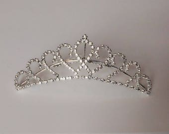 "Rhinestone Heart Tiara / 4"" Small Comb Crown / Wedding or Prom Hair Accessory / Love Tiara / Silver Metal comb / 4 Inch / HA6"