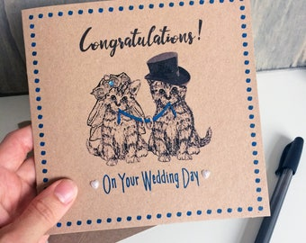 Cat Wedding Card, Congratulations with Kitten Bride & Groom illustration, unusual card for new Mr and Mrs with pearl hearts, diamante gem