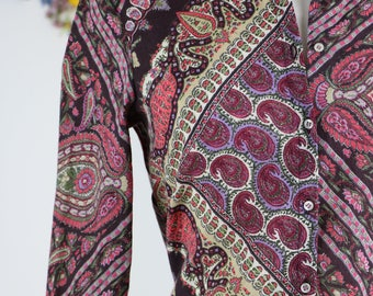 1990s Vintage Bold Multicoloured Boho Paisley Patterned Long Sleeve Wool Button Up Shirt Size Small Medium Made In Italy Fall Winter