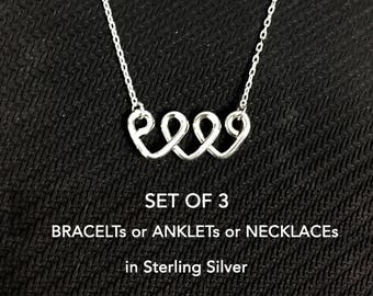 3 Sisters Necklace or Bracelet or Anklet, Three Best Friend Necklace, 3 Sister Necklace Gift