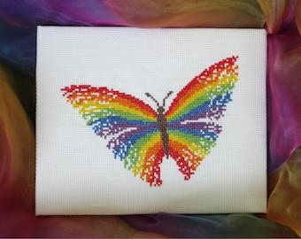 Rainbow butterfly cross stitch pattern, PDF cross stitch pattern, baby, child, easy modern magic counted cross stitch printable chart