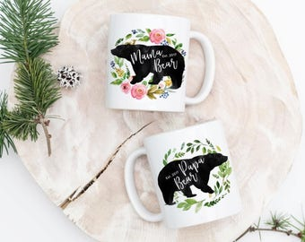 Papa Bear Mama Bear Mugs - Papa Bear Mug - Mama Bear Cup - Mama Bear Coffee Cup - New Dad Mug - New Mom Mug - New Parents Mugs