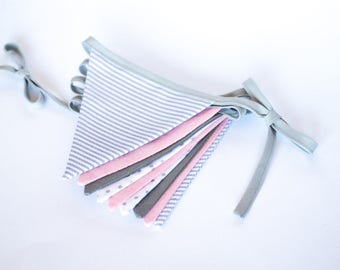 Decorative bunting banner garland, shabby chic fabric bunting flags, blush pink grey white pennants, baby bunting, pastel wall hanging