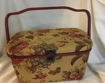 Vintage Sewing basket, Red Floral Box,Thread Storage, Sewing Supply, Notion Box, Craft Storage Case, Darning Basket,Seamstress Gift
