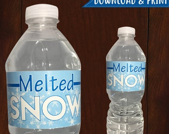 PRINTABLE Winter Melted Snow 16.9 oz Water Bottle Label