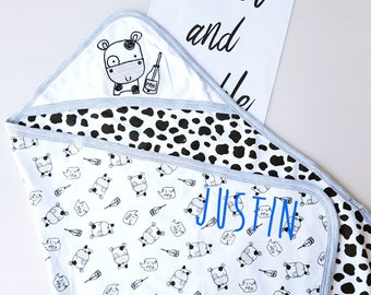 Personalised baby Blanket / Cotton Hooded Blanket/ Car Seat Swaddle blanket/ gifts for baby