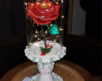Intricate Floral Designed Ceramic pedestal with Handmade Crepe Paper/Enchanted Crepe Paper Rose/Handmade Metallic Crepe Paper Rose/Whimsical