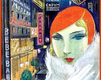 FAB Art Deco FLAPPER Among The City Lights. Digital Print. Printable Art Deco Image. Digital Flapper Download.