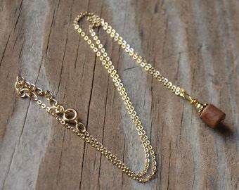 Pink Line Jasper Genuine Gemstone Necklace