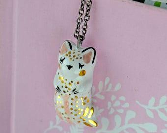 Purrmaid Necklace, Ceramic Mermaid Cat, Mermaid Jewelry, Miniature Mermaid Cat