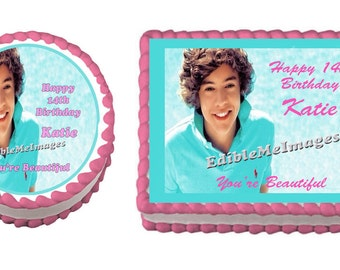 HARRY STYLES One Direction Birthday Party Edible Image Cake Topper Cupcake Personalized Custom Made