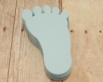 Small Baby Footprint Cutouts-Baby Shower Decor-Cardstock Footprints-Light Blue Baby Boy Decorations-Scrap-booking-2 inch Paper Footprints
