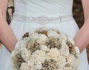 Wedding Bouquet, Bridal Bouquet, Rustic Bouquet, Woodland Sola Flower Bouquet, Handmade Bridal Bouquet, Romantic weddings, Keepsake Bouquet