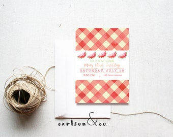 Picnic Invitation | Summer BBQ | Watermelon | Digital Printable