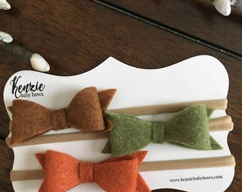 Felt Bow Baby Fall Headband, Set of Three, You Pick Color