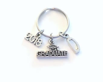 Graduation Key Chain Gift for Grad Keyring Graduate Keychain Present Student 2017 2018 personalized customized with letter initial 2019 2020