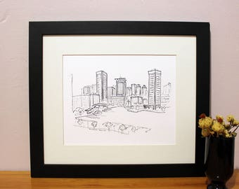 Baltimore Art Print, Inner Harbor Sketch, Wall Decor, Housewarming Gift, Wedding Gift, Birthday Gift, Holiday Gift, For Her, For Him