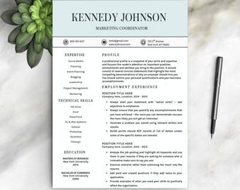 Resume Template For Word | 1 U0026 2 PageProfessional Resume Template, Cover  Letter | Instant  Resume And Cover Letter