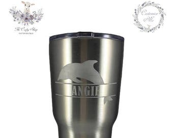 Etched YETI or Ozark Trail Tumbler - 10oz 20oz 30oz / Can Coolie / Bottle - Dolphin