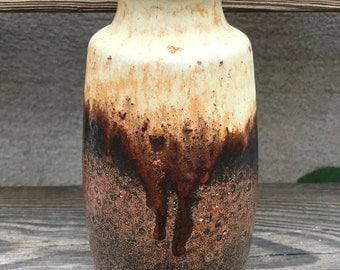 Retro German vase /Scheurich / fat lava / bronze brown white / West Germany / 70s