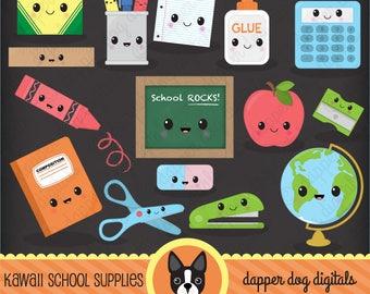 Kawaii School Supplies Clipart Pack - Commercial Use, Vector Images, Digital Clip Art, Digital Images