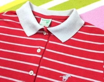 Women's WRANGLER Polo Shirt - Vintage Womens Wrangler Red Striped T-Shirt Cotton Stripe Tee - Size Small Medium