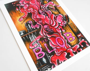 """A5 art reproduction poster poster frame drawing painting tribute to """"the Blob"""" movie-film 80's retro fanart series B @méka - drepth"""