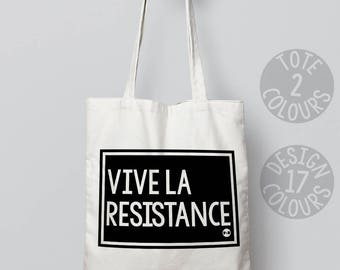 Vive la Résistance, tote, protest, xmas gift, gift ideas, present for her, activist gift, feminist, cause, persisted, girl power, love is