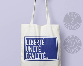 Liberté Unité Égalité strong feminist cotton tote bag, present for teen girl, gift ideas for women, French demonstration march, equal rights