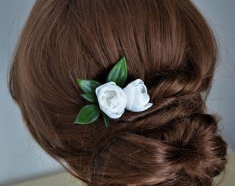 Ivory flower hair clip, bridesmaid hair clip, ivory hair flower, leaf hair clip, flower hair accessory, girls hair clip