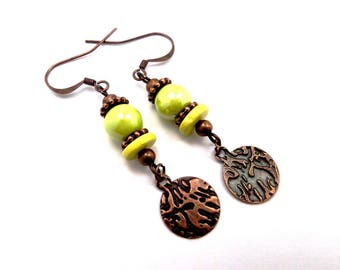 Lime green earrings copper sequins, ceramic, brass, boho hippie